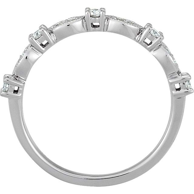 Diamond Fashion Rings - Granulated Stackable Ring - image #2