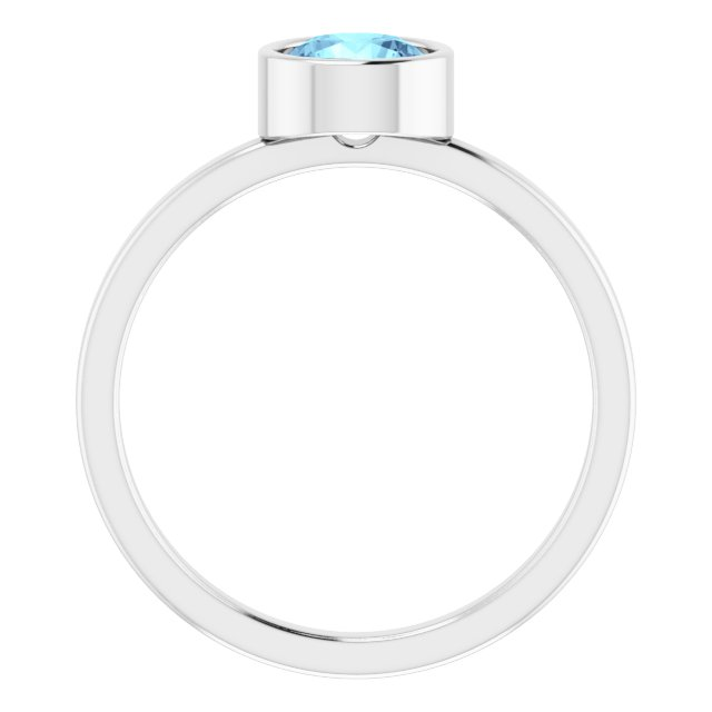 Gemstone Rings - Genuine Aquamarine Ring - image #2