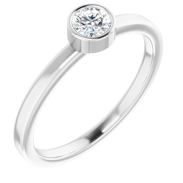 Diamond Fashion Rings - Bezel Set Solitaire Ring