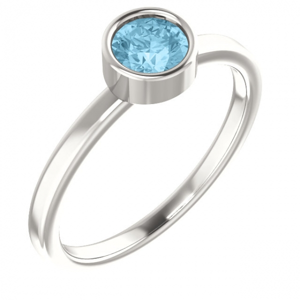 Gemstone rings - Bezel Set Solitaire Ring