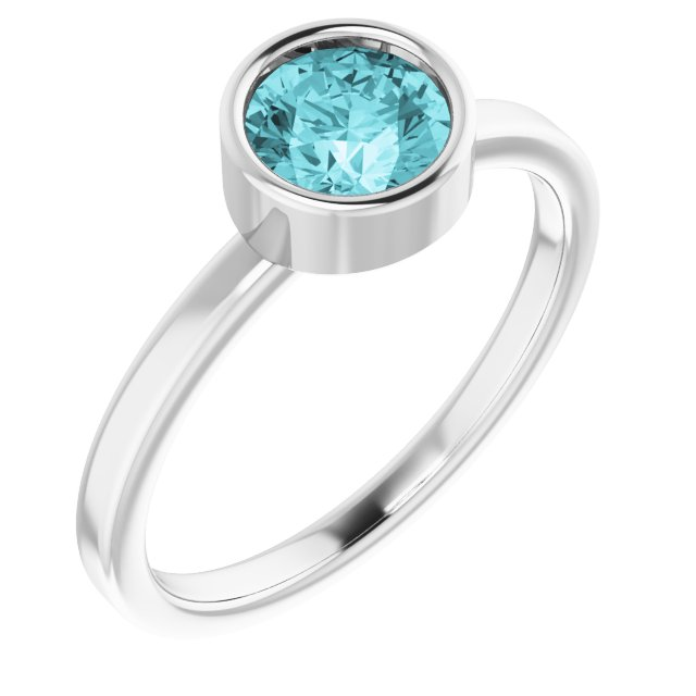 Gemstone Rings - Genuine Blue Zircon Ring
