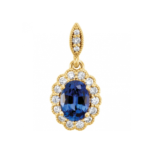pendant sapphire diamond blue and saphire gold white necklace
