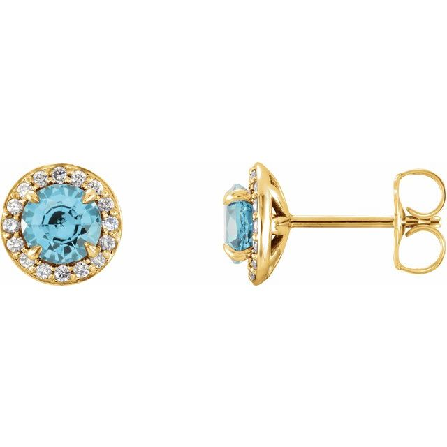 Gemstone Earrings - Genuine Blue Zircon Earrings