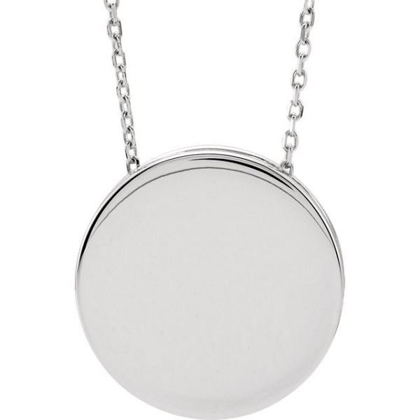 Diamond Necklaces - Engravable Scroll Disc Slide Necklace