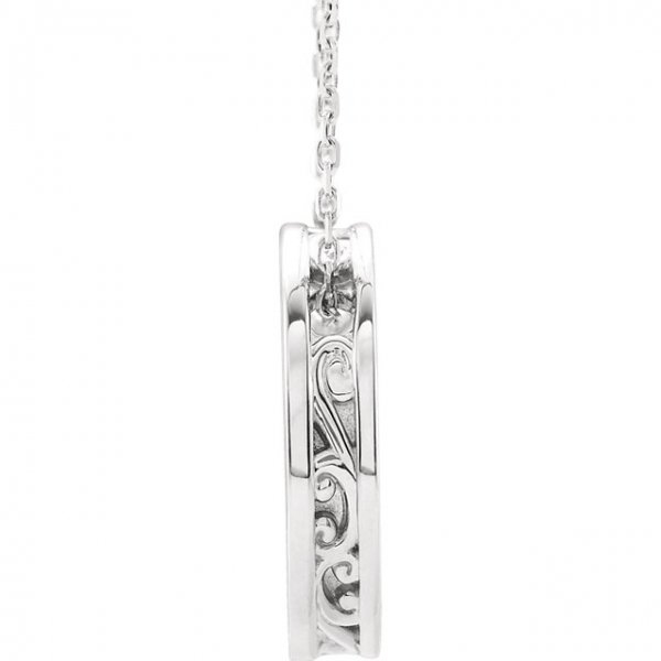 Diamond Necklaces - Engravable Scroll Disc Slide Necklace  - image 2