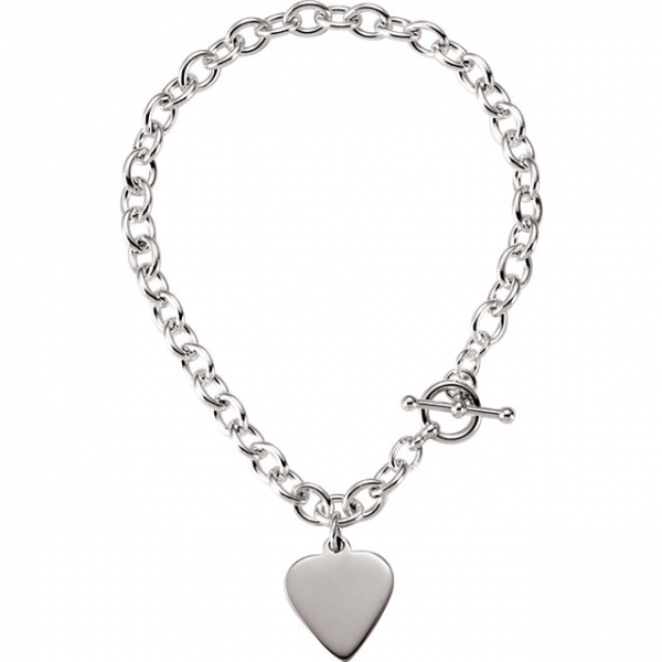 Diamond Bracelets - 5.75mm Cable Toggle Bracelet with Heart