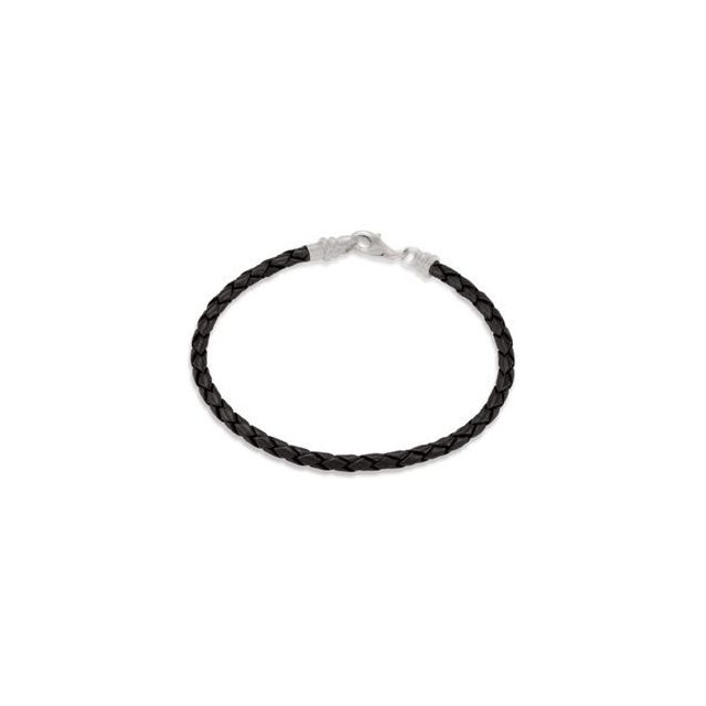 Bracelets - Kera® 3.0 mm Black Braided Leather Bracelet