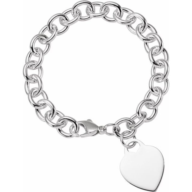 Bracelets - 9.75mm Sterling Silver Charm Cable Bracelet with Lightweight Heart