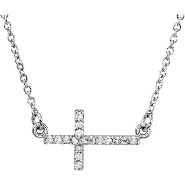 Diamond Necklaces - Sideways Cross Necklace