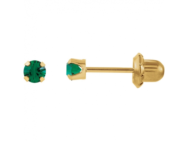 Imitation Birthstone Inverness® Piercing Earrings   - 14K Yellow Imitation Emerald Inverness® Piercing Earrings