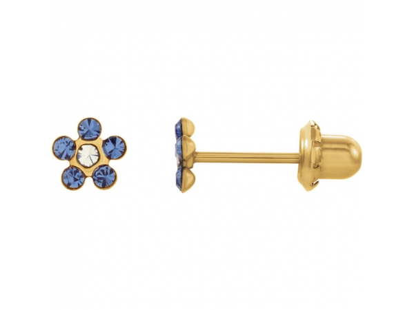 Floral-Inspired Inverness® Piercing Earrings  - 14K Yellow Imitation Crystal September Birthstone Piercing Earrings