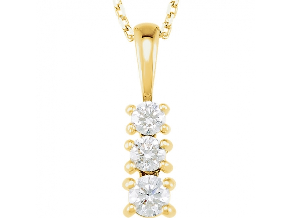 Graduated Three-Stone  Necklace - 14K White 1/3 CTW Diamond 3-Stone 18