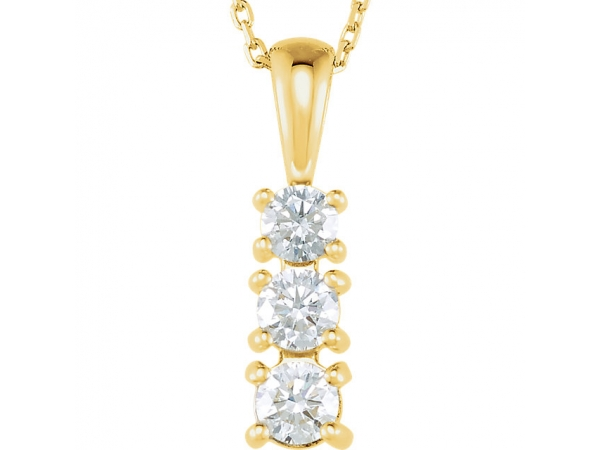 Graduated Three-Stone  Necklace - 14K Yellow 1/2 CTW Diamond 3-Stone 18