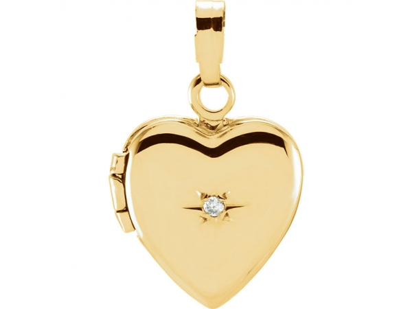Heart Locket - 14K Yellow .005 CT Diamond Heart Shaped Locket