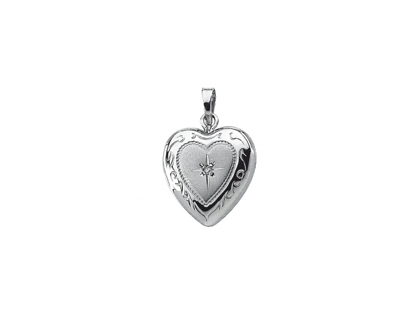 Diamond Pendant - Polished Sterling Silver Diamond Pendant