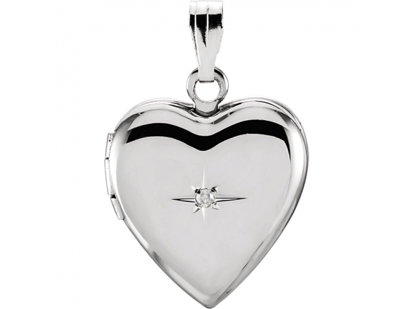 Heart Locket  - Sterling Silver .01 CTW Diamond Heart Locket