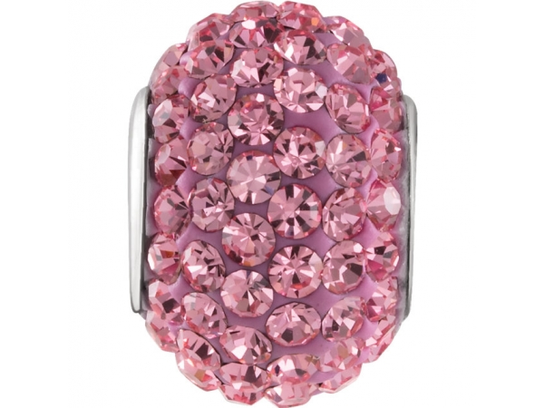 Kera® Roundel Bead with Pave' Rose Crystals - Sterling Silver 12x8mm Roundel Bead with Pave' Rose Crystal