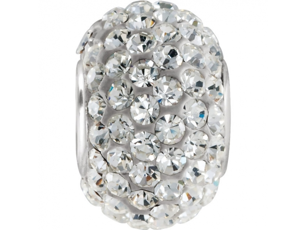 Kera® Roundel Bead with Crystals - Sterling Silver 12x8mm Roundel Bead with Crystals