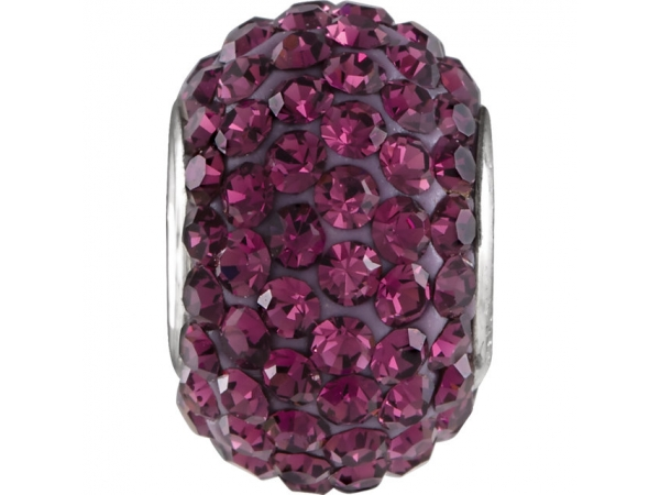 Kera® Roundel Bead with Pavé Purple Crystals - Sterling Silver Kera® Roundel Bead with Pavé Purple Crystals