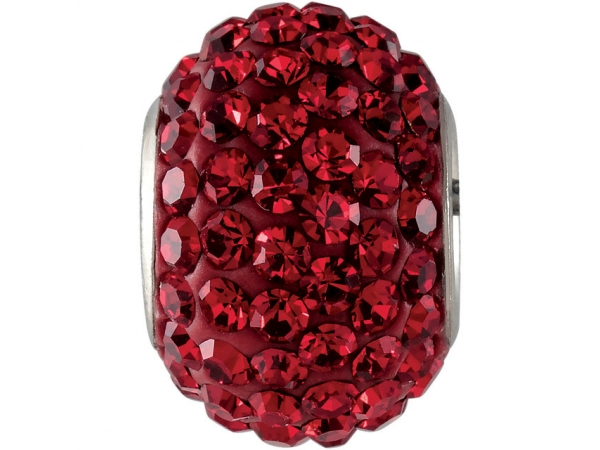 Kera® Roundel Bead with Pavé Red Crystals - Sterling Silver 12x8mm Roundel Bead with Pavé Red Crystals