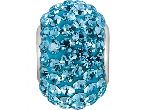Kera® Aquamarine-Colored Crystal Pave' Bead - Sterling Silver 12x8mm Bead with Pave Aqua Crystals