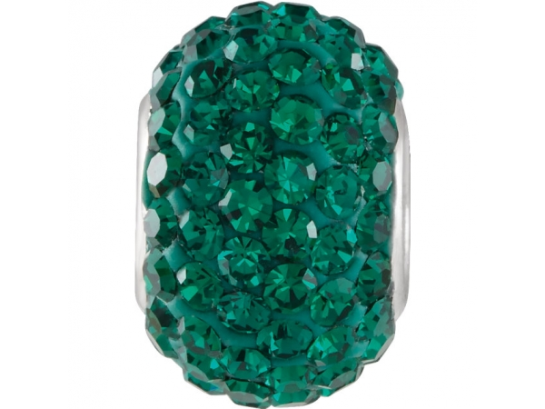 Kera® Emerald-Colored Crystal Pave' Bead - Sterling Silver 12x8mm Emerald-Colored Crystal Pave' Bead