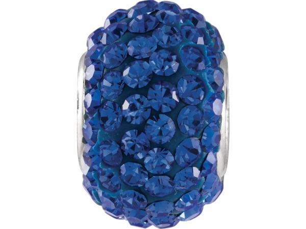 Kera® Sapphire-Colored Crystal Pave' Bead - Sterling Silver 12x8mm Sapphire-Colored Crystal Pave' Bead