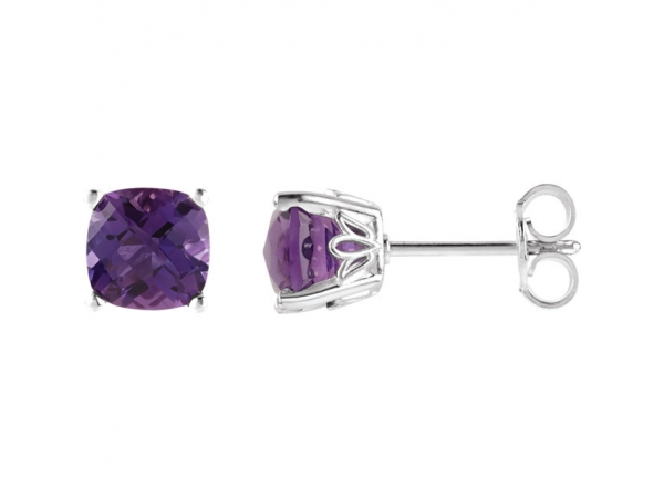 Cushion 4-Prong Scroll Setting® Earrings  - Sterling Silver Amethyst Earrings