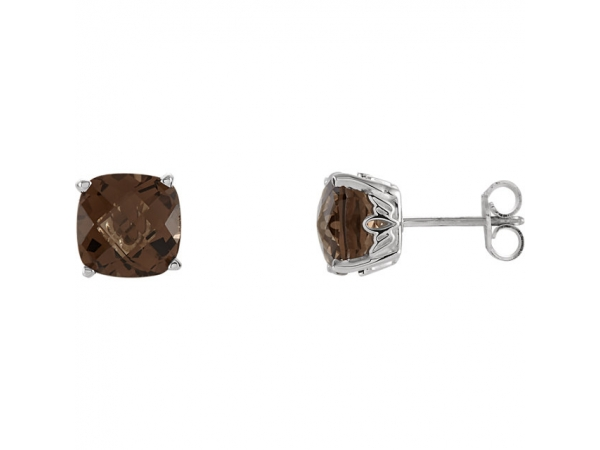 Gemstone Earrings - Cushion 4-Prong Scroll Setting® Earrings