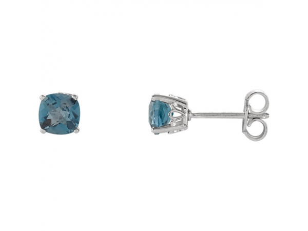 Cushion 4-Prong Scroll Setting® Earrings  - Sterling Silver 5x5 mm Cushion London Blue Topaz Scroll Setting® Earring