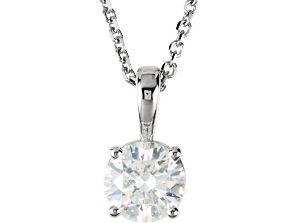 Diamond Necklace - Polished 14K White Gold Diamond Necklace