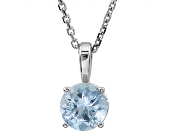 Youth 4-Prong Solitaire  Necklace  - 14K White Aquamarine