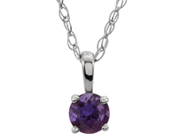 Youth Solitaire Birthstone  Necklace  - 14K White 3 mm Round Amethyst Youth Birthstone 14