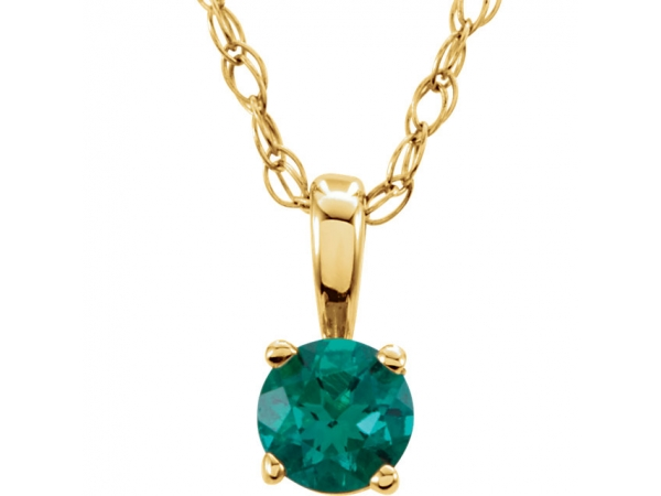 Youth 4-Prong Solitaire  Necklace  - 14K Yellow Chatham® Lab-Created Emerald
