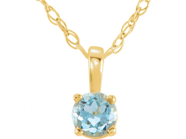 Gemstone Necklaces - Youth 4-Prong Solitaire  Necklace