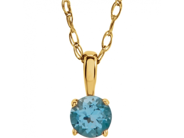 Youth Solitaire Birthstone  Necklace  - 14K Yellow 3 mm Round Swiss Blue Topaz Youth Birthstone 14