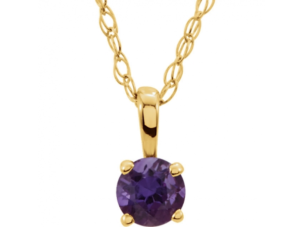 Gemstone Necklaces - Youth Solitaire Birthstone  Necklace