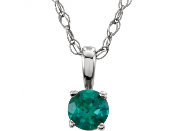 Youth 4-Prong Solitaire  Necklace  - 14K White Imitation Emerald