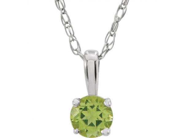 Youth 4-Prong Solitaire  Necklace  - 14K White Imitation Peridot