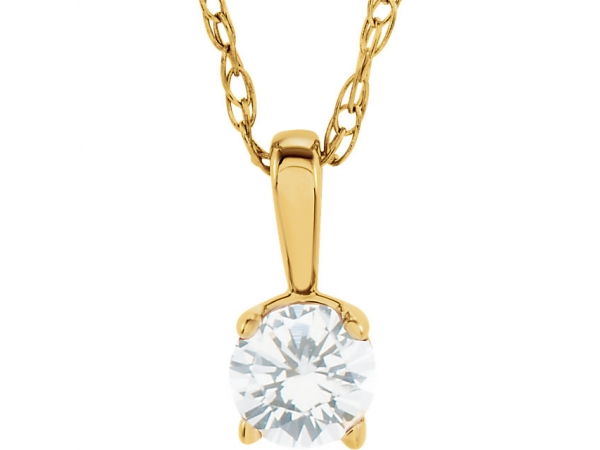 Youth Solitaire Birthstone  Necklace  - 14K Yellow 1/10 CTW Diamond Youth Birthstone 14