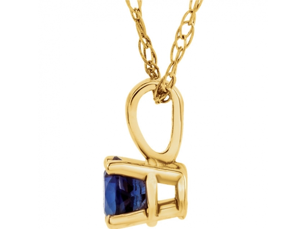 Gemstone Necklaces - Youth 4-Prong Solitaire  Necklace  - image #2