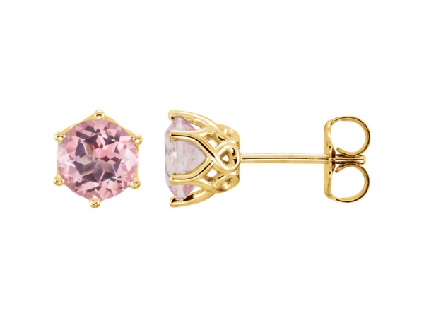 Round 6-Prong Woven Earrings  - 14K Yellow Baby Pink Topaz Round Earrings