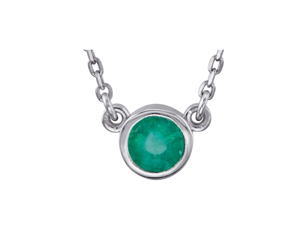 Genuine Emerald Necklace - Polished Sterling Silver Genuine Emerald Necklace
