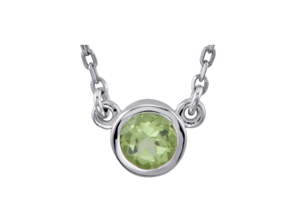 Genuine Peridot Necklace - Polished Sterling Silver Genuine Peridot Necklace