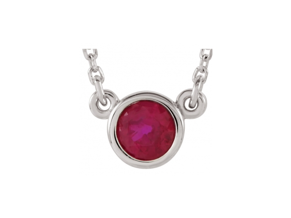 Genuine Ruby Necklace - Polished Sterling Silver Genuine Ruby Necklace