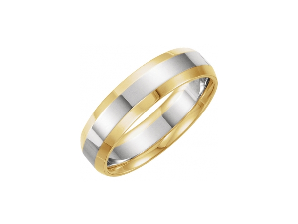 6mm Wedding Band - Polished 14K Yellow Gold & 14K White Gold 6mm Wedding Band