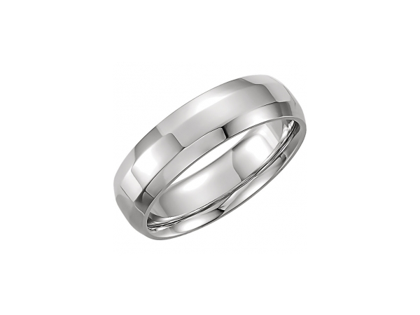 8mm Wedding Band - Polished 10K White Gold 8mm Engravable Wedding Band