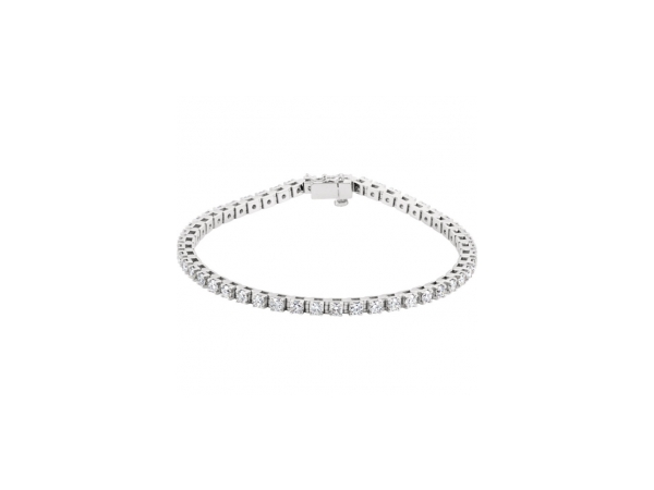Diamond Bracelet - Polished 14K White Gold Diamond Bracelet