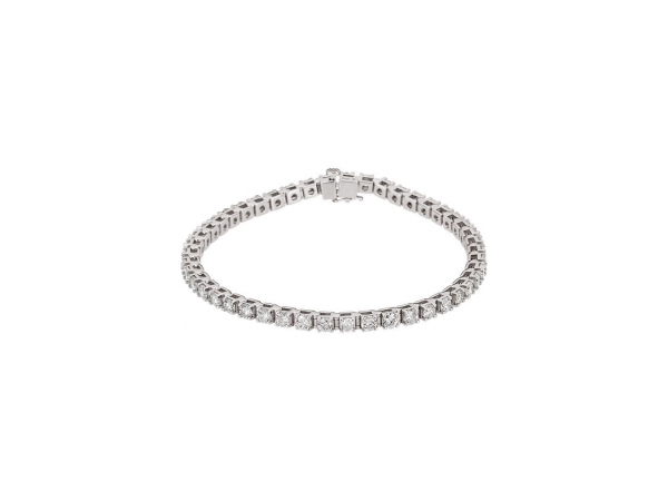 Genuine Diamond Bracelet - Polished 14K White Gold Genuine Diamond Bracelet