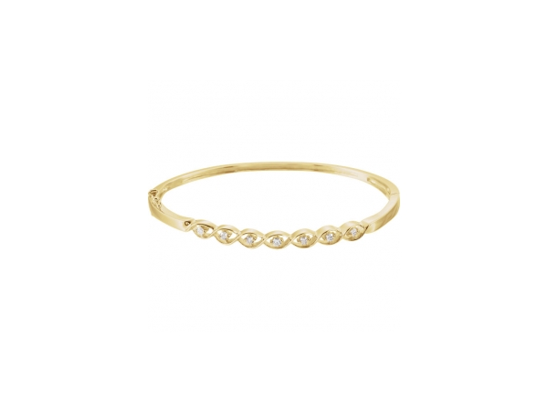 Diamond Bracelet - Polished 14K Yellow Gold Diamond Bracelet